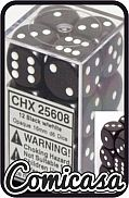 DOBBELSTENEN - BRICK : OPAQUE BLACK / WHITE Contains 12 x 16 mm Dice