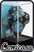 DOBBELSTENEN - GEMINI BLACK-SHELL/WHITE Set of 7 Poly Dice