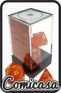 DOBBELSTENEN - GHOSTLY GLOW ORANGE / YELLOW Seven Ghostly Glowing Polyhedral Die Set
