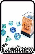 DOBBELSTENEN - NEBULA OCEANIC / GOLD Set of 7 Poly Dice